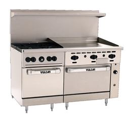 "Range, 60"", 4 Burners, 36"" Griddle, 2 Standard  Ovens - Nat. Gas, 60SS-4B-36G-N by Vulcan."