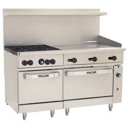 "Range, 60"", 4 Burners, 36"" Thermostatic Griddle, 2 Standard  Ovens - L.P. Gas, 60SS-4B-36GT-P by Vulcan."