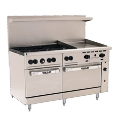 "Range, 60"", 6 Burners, 24"" Griddle,  2 Standard Ovens - Nat. Gas, 60SS-6B-24G-N by Vulcan."