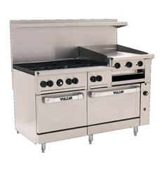 "Range, 60"", 6 Burners, 24"" Raised Griddle,  2 Standard Ovens - Nat. Gas, 60SS-6B-24GB-N by Vulcan."