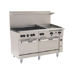 "Range, 60"", 6 Burners, 24"" Thermostatic Griddle,  2 Standard Ovens - L.P. Gas, 60SS-6B-24GT-P by Vulcan."