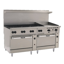 "Range, 72"" 8 Burn 24"" Griddle 1 Std 1 Conv. Oven - NAT - 72SC-8B24G-N by Vulcan."