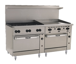 "Range, 72"" 6 Burn 36"" Griddle  2 Std. Ovens - NAT - 72SS-6B36G-N by Vulcan."