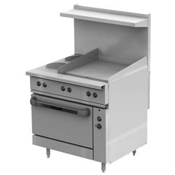 "Range, 36"" Electric, 2 French Plates, 24"" Griddle, 1 Standard  Oven - 240V, EV36-S-2FP-24G-240 by Vulcan."