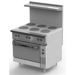 "Range, 36"" Electric, 6 French Plates, 1 Standard  Oven - 208V, EV36-S-6FP-208 by Vulcan."