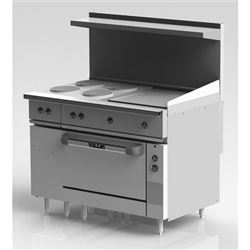 "Range, 48"" Electric, 4 French Plates, 24"" Griddle, 1 Standard  Oven - 208V, EV48-S-4FP-24G-208 by Vulcan."