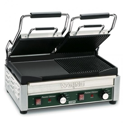 Panini Grill, Dual Sided, Combo Ribbed And Smooth - 240V. WDG300 by Waring.