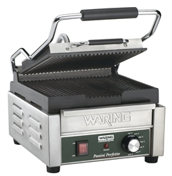 Panini Grill, Small Single, Ribbed - 120V. WPG150 by Waring.