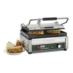 Panini Grill, Large Single, Ribbed - 120V. WPG250 by Waring.