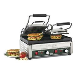 Panini Grill, Dual, Ribbed - 240V. WPG300 by Waring.