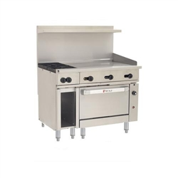 "Range, 48"", 2 Burners, 36"" Griddle, 1 Convection Oven - Nat. Gas, C48C-2B36G-N by Wolf."