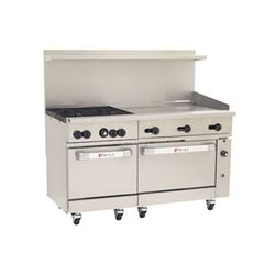 "Range, 60"", 4 Burners, 36"" Griddle, 2 Standard Ovens - Nat. Gas, C60-SS-4B-36G-N by Wolf."
