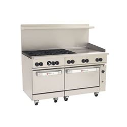 "Range, 60"", 6 Burners, 24"" Griddle, 2 Standard Ovens - Nat. Gas, C60-SS-6B-24G-N by Wolf."