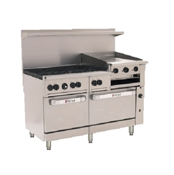 "Range, 60"", 6 Burners, 24"" Raised Griddle/Broiler, 2 Standard Ovens - L.P. Gas, C60-SS-6B-24GB-P by Wolf."