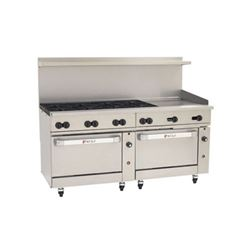 "Range, 72"", 8 Burners, 24"" Griddle, 2 Standard Ovens - Nat. Gas, C72-SS-8B-24G-N by Wolf."