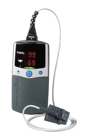 PalmSat 2500A Digital Handheld Pulse Oximeter with Alarm & Sensor