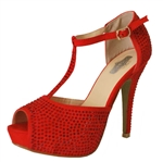 Suede T-Strap Peep Toe High Heel Shoe