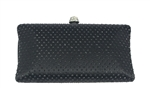 Black Rhinestone Crystal Hard Box Cocktail Clutch Purse