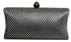 Silver Grey Rhinestone Crystal Hard Box Cocktail Clutch Purse