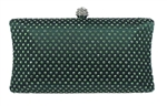Emerald Green Rhinestone Crystal Hard Box Cocktail Clutch Purse