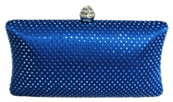 Royal Blue Rhinestone Crystal Hard Box Cocktail Clutch Purse