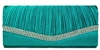 Teal Blue Pleated Satin Wedding Evening Bridal Clutch Purse With Rhinestones