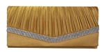 Gold Pleated Satin Wedding Evening Bridal Clutch Purse With Rhinestones