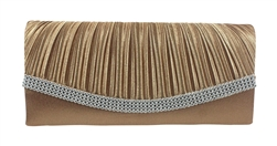 Bronze Brown Pleated Satin Wedding Clutch