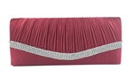 Wine Red Pleated Satin Wedding Clutch