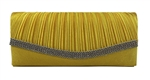Yellow Pleated Satin Wedding Evening Clutch