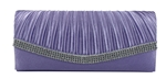 Light Purple Pleated Satin Wedding Evening Clutch