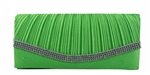Green Pleated Satin Wedding Evening Clutch