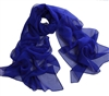 Royal Blue Solid Polyester Chiffon Neck Scarf Wrap Stole Shawl