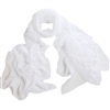 White Solid Polyester Chiffon Neck Scarf Wrap Stole Shawl