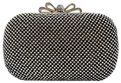 Black Crystal Bow Closure Clutch Purse