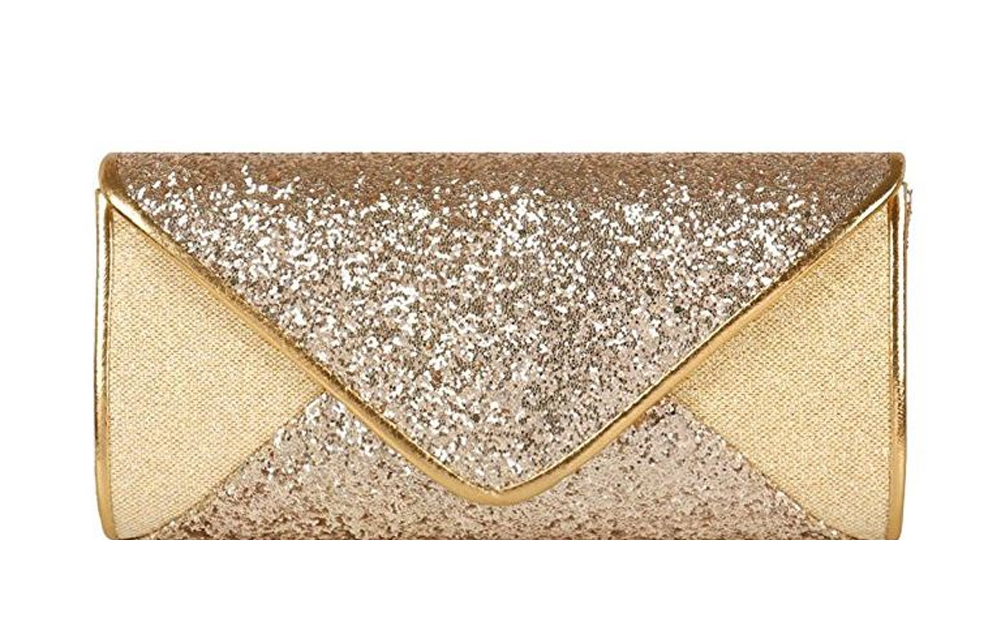 Gold Sequin Mesh Bridal Wedding Evening Tail Envelope Clutch Purse