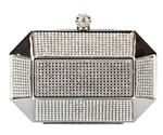 Silver Rhinestone Stud Octagon Hard Box Clutch