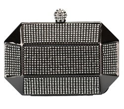 Black Rhinestone Stud Octagon Hard Box Clutch