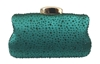 Chicastic Green Sequin Rhinestone Hard Box Clutch