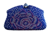 Royal Blue & White Rhinestone Crystal Hard Box Cocktail Clutch Purse