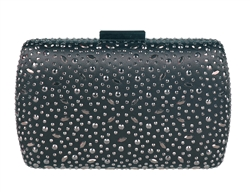 Black Sequin Crystal Hard Box Cocktail Clutch Purse