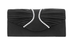 Pleated Satin Wedding Evening Bridal Clutch Purse With Rhinestone Stud Lines