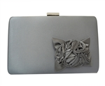 Satin Flower Hard Box Cocktail Wedding Clutch Purse