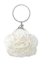 White Satin Rosette Ring Handle Wristlet Clutch