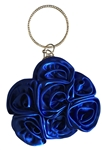 Blue Satin Rosette Ring Handle Wristlet Clutch