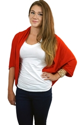 Red Casual Lightweight Loose Fit Cardigan