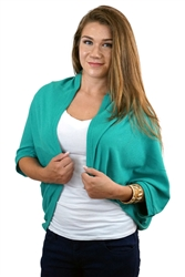 Teal Blue Casual Lightweight Loose Fit Shrug Style