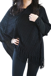 Chic Fringed Pullover Poncho Cardigan