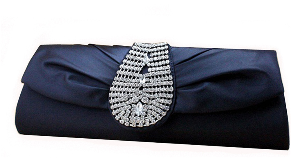 Blue Silk Rhinestone Wedding Clutch Bag