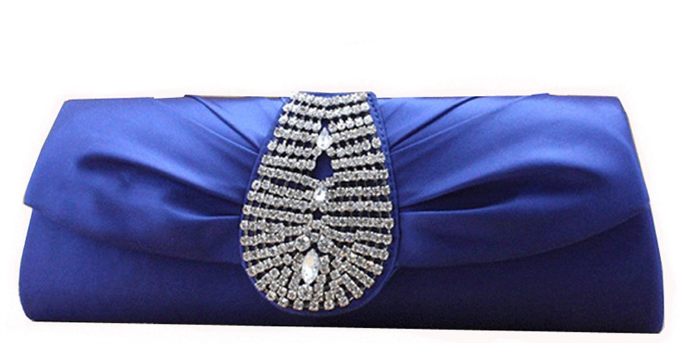 Blue Rhinestone bridal clutch purse handbag